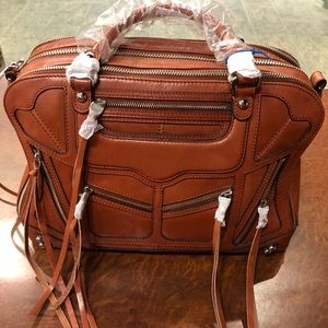 REBECCA MINKOFF TRIZIP JEALOUS LEATHER SATCHEL